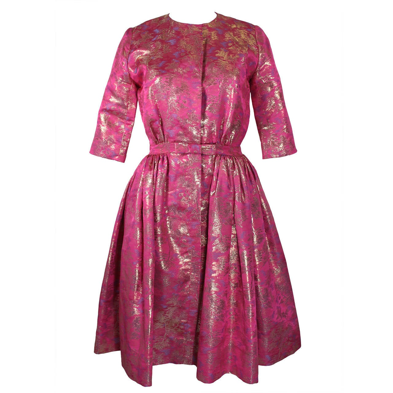 Larry Aldrich Hot Pink and Gold Tree Motif Brocade Dress 1