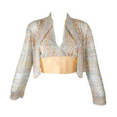 Halston Attribution Pastel Beaded Halter Top and Jacket
