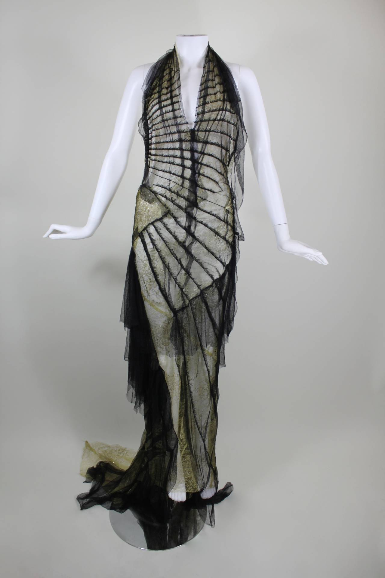 Roberto Cavalli Stunning Sheer Gold Lace and Cascading Black Tulle Gown 2