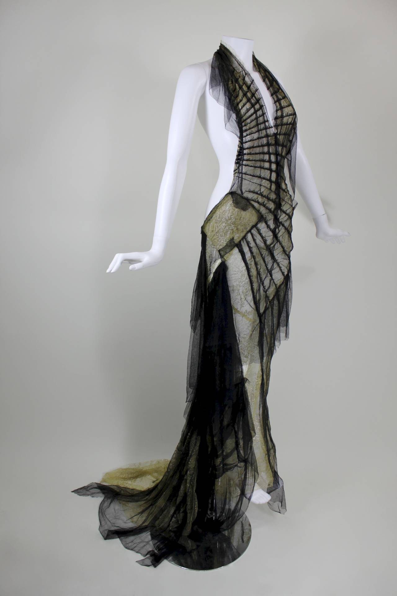 Roberto Cavalli Stunning Sheer Gold Lace and Cascading Black Tulle Gown 3