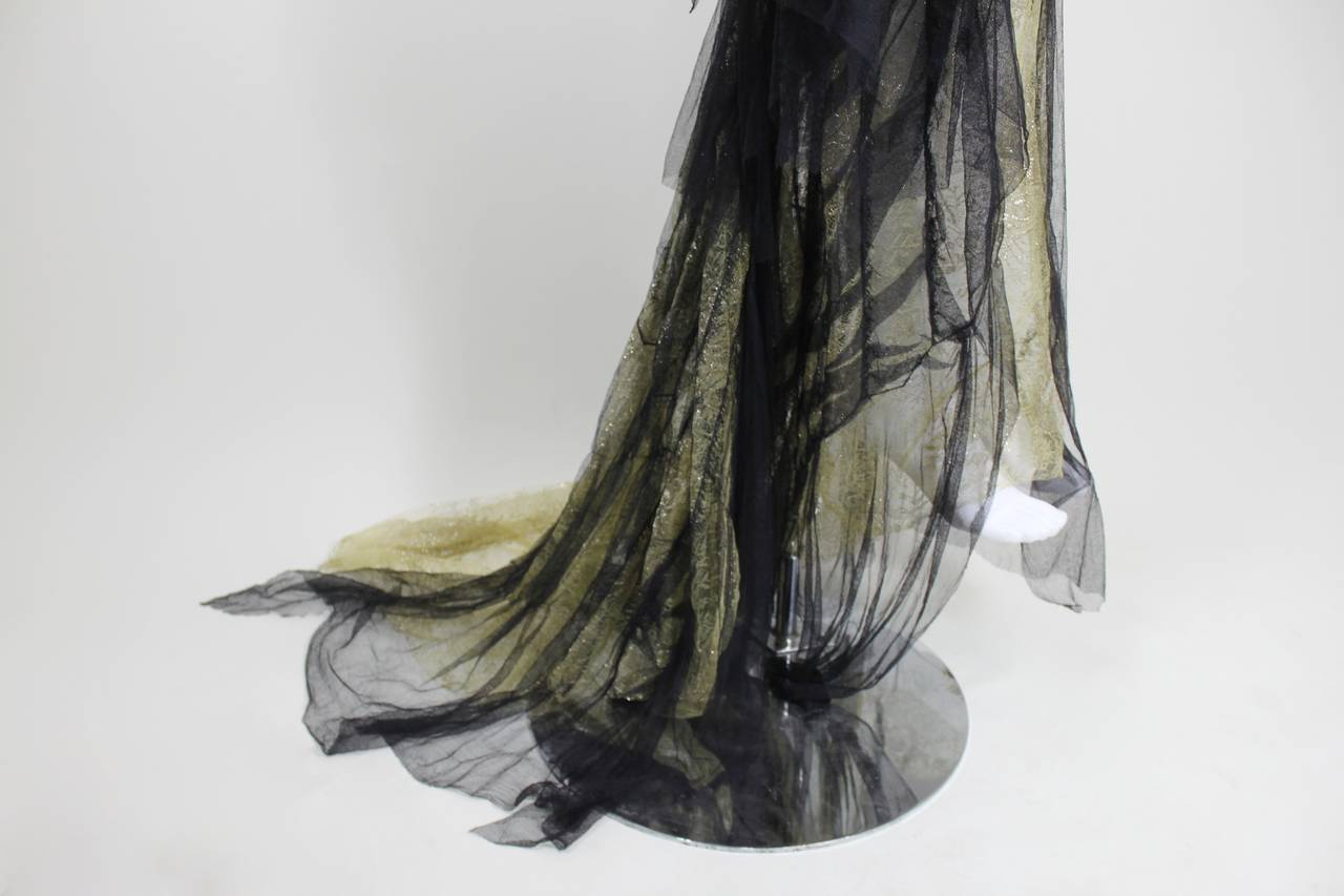 Roberto Cavalli Stunning Sheer Gold Lace and Cascading Black Tulle Gown 9