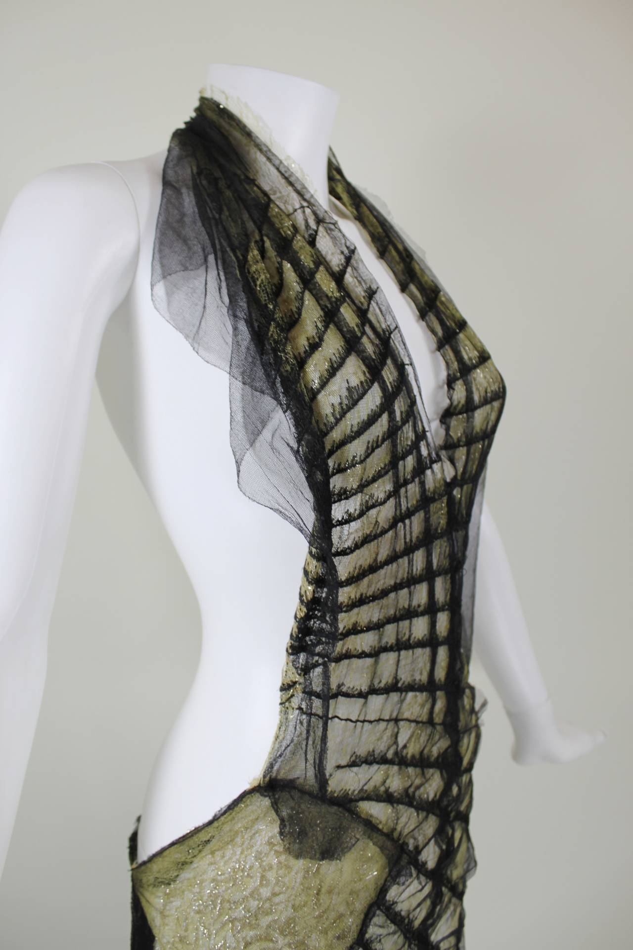 Roberto Cavalli Stunning Sheer Gold Lace and Cascading Black Tulle Gown 6