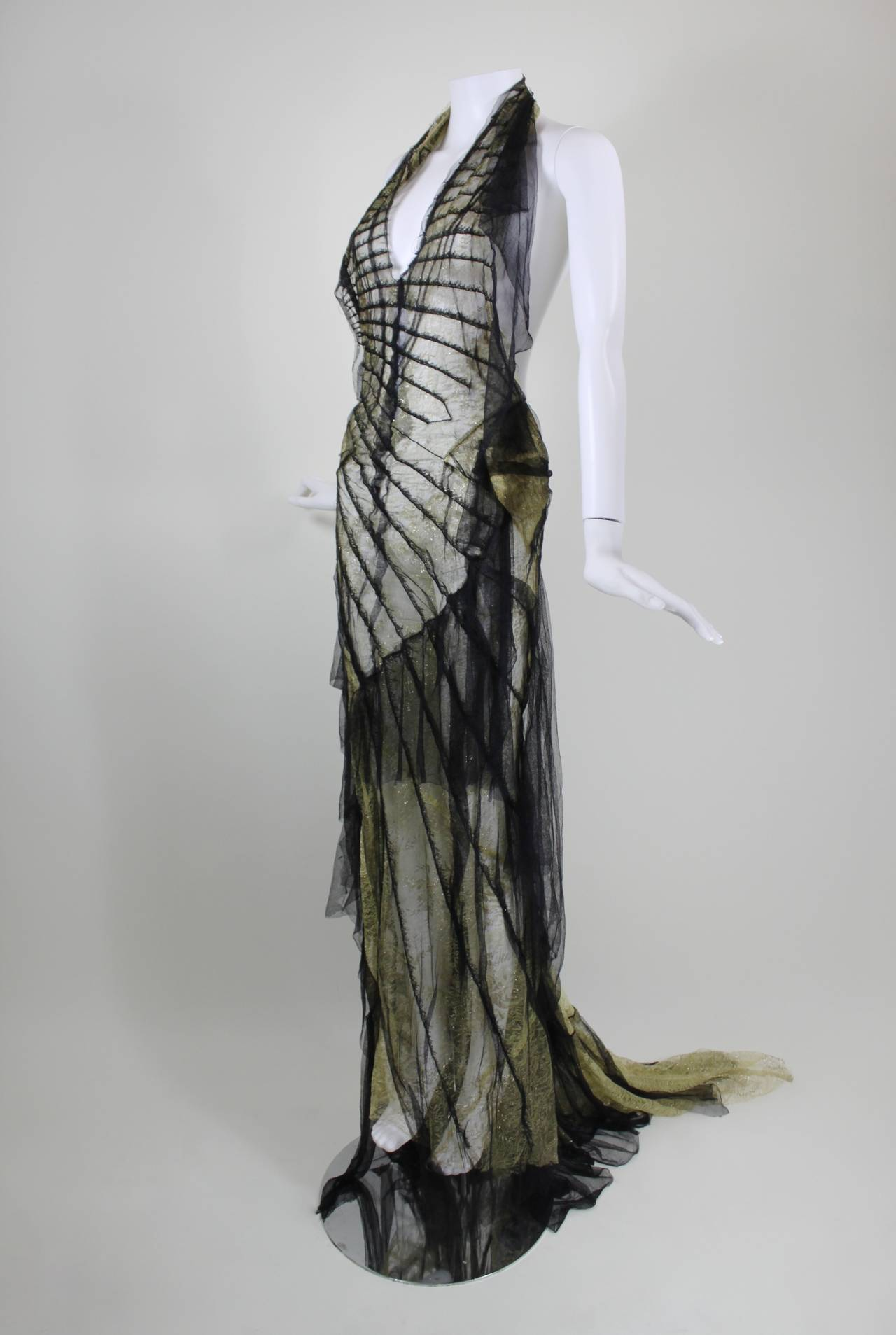 Roberto Cavalli Stunning Sheer Gold Lace and Cascading Black Tulle Gown 5