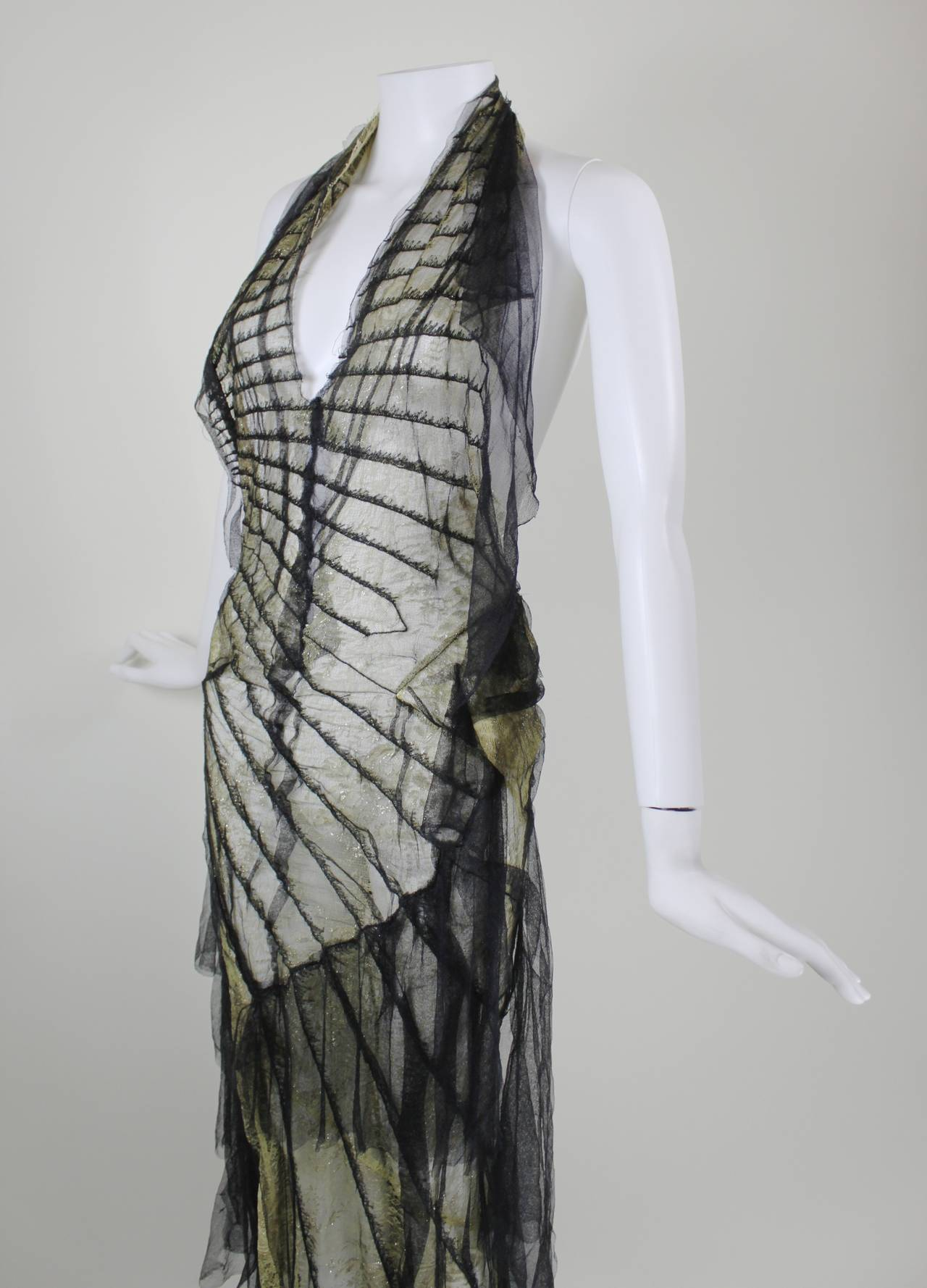 Roberto Cavalli Stunning Sheer Gold Lace and Cascading Black Tulle Gown 7