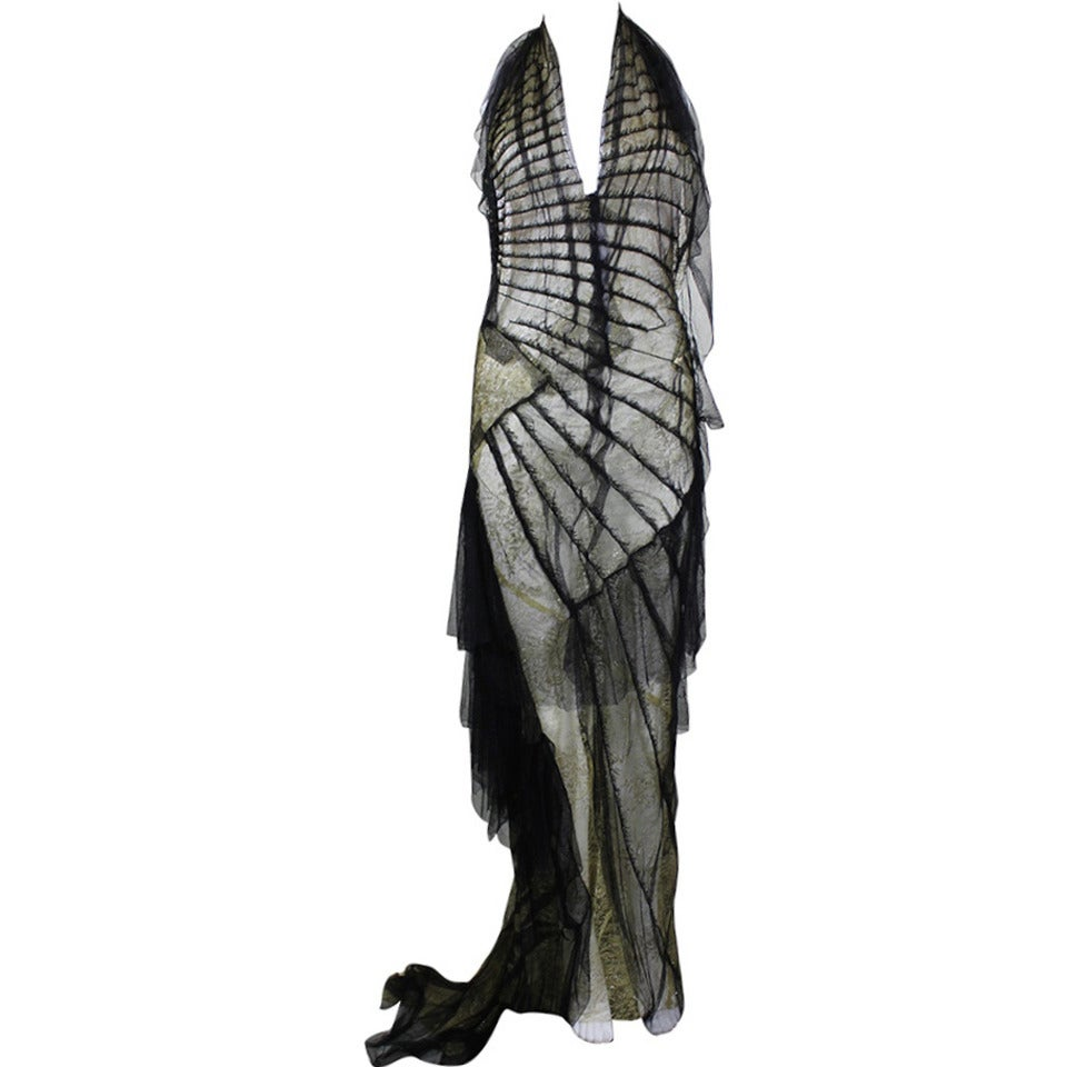 Roberto Cavalli Stunning Sheer Gold Lace and Cascading Black Tulle Gown 1