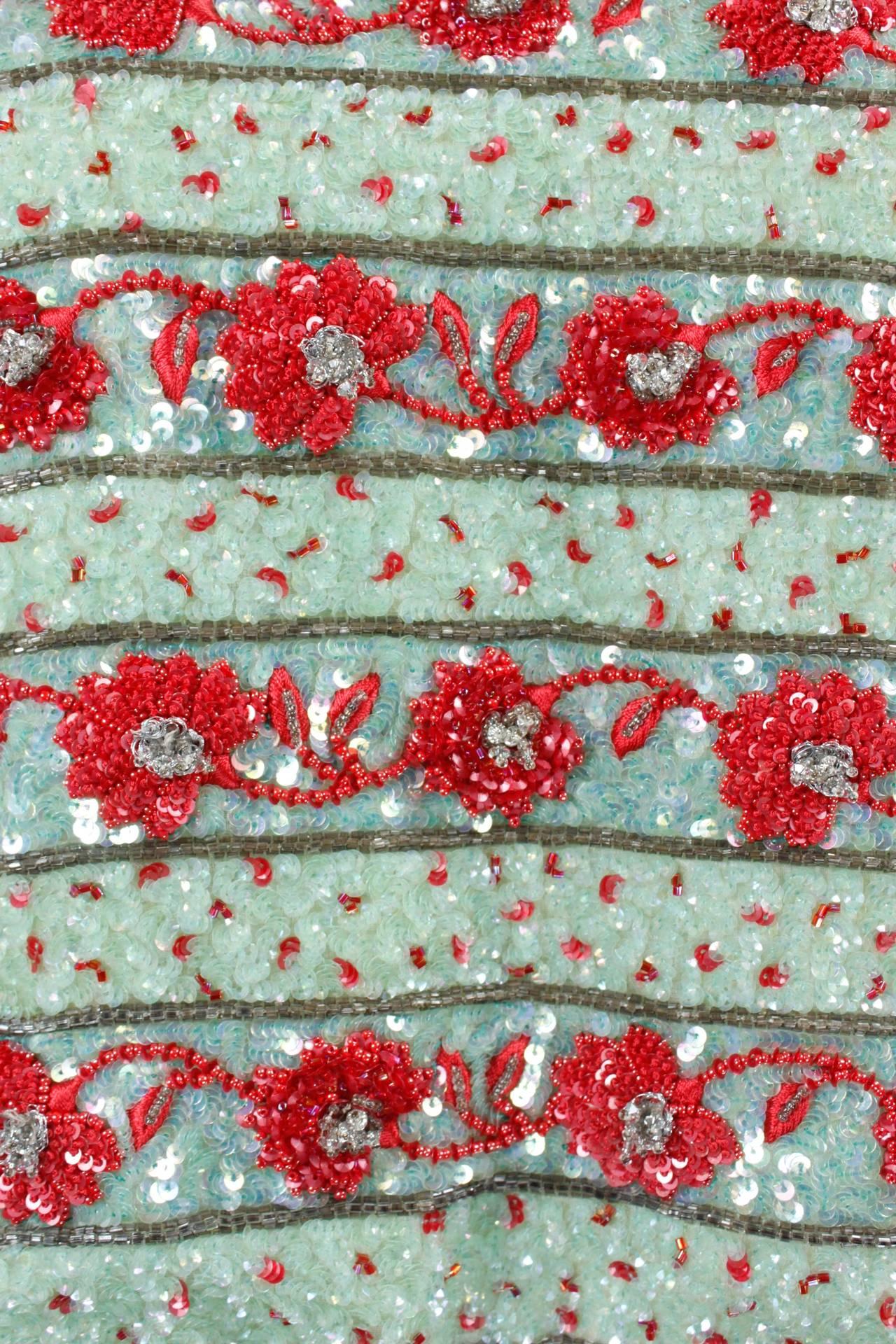1980s Carolina Herrera Mint and Rose Embellished Evening Blouse 6