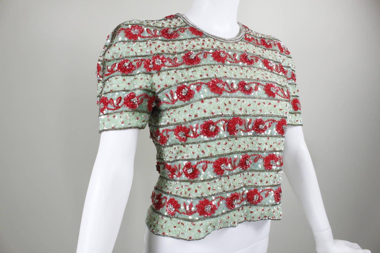 1980s Carolina Herrera Mint and Rose Embellished Evening Blouse 2