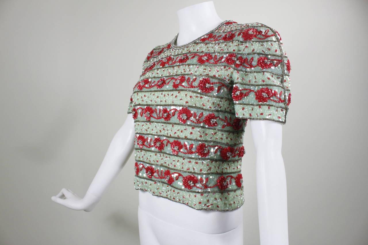 1980s Carolina Herrera Mint and Rose Embellished Evening Blouse 3
