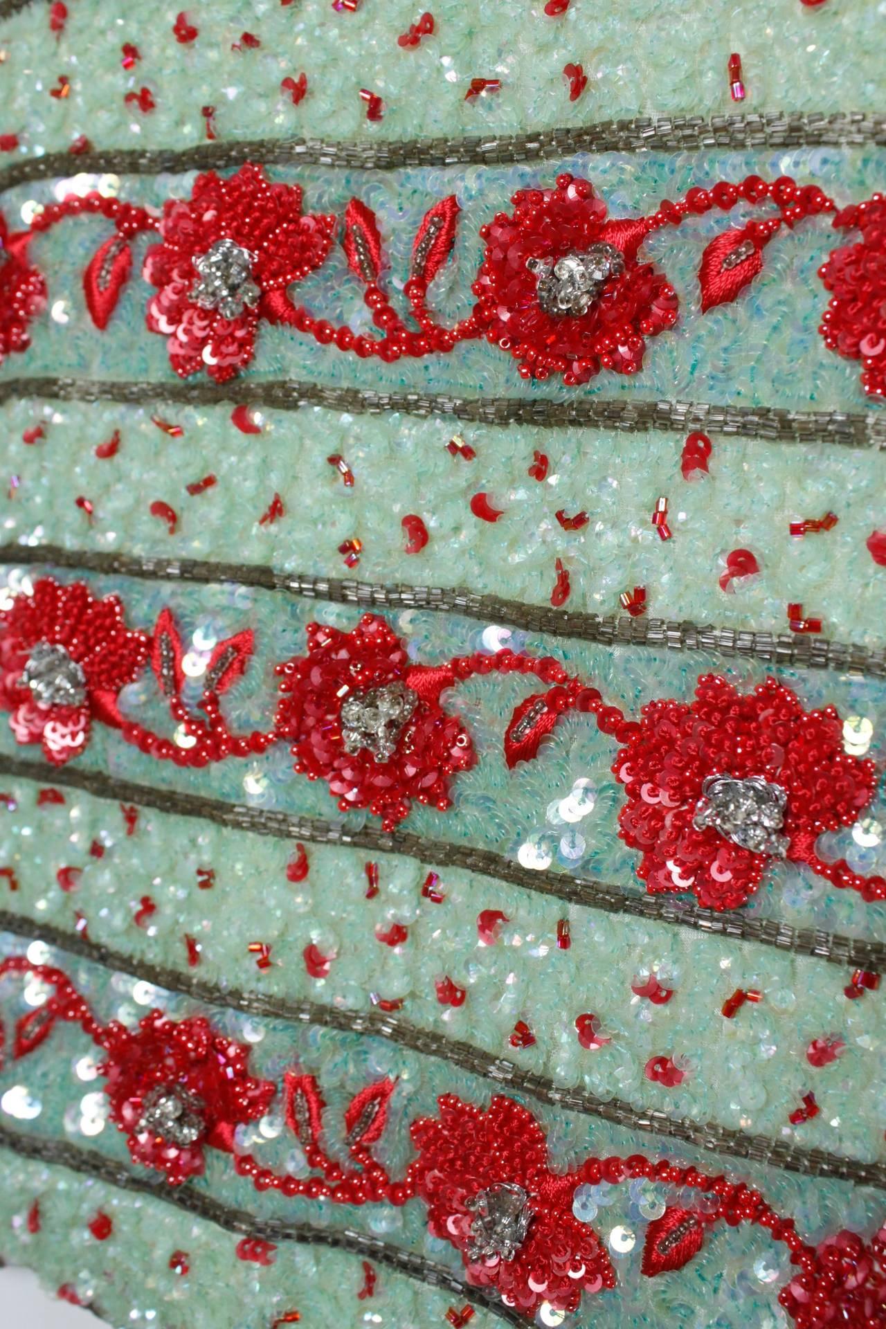 1980s Carolina Herrera Mint and Rose Embellished Evening Blouse 5
