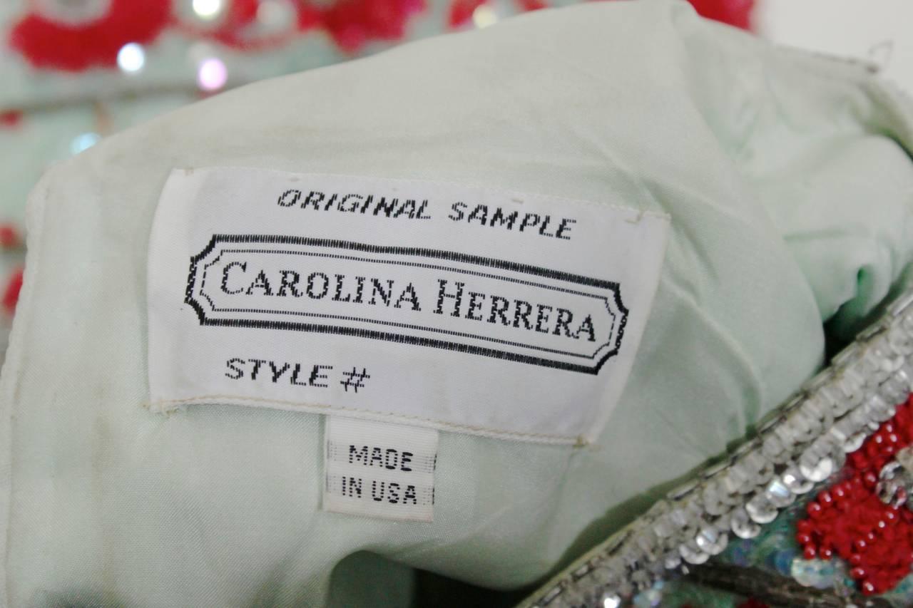 1980s Carolina Herrera Mint and Rose Embellished Evening Blouse 7