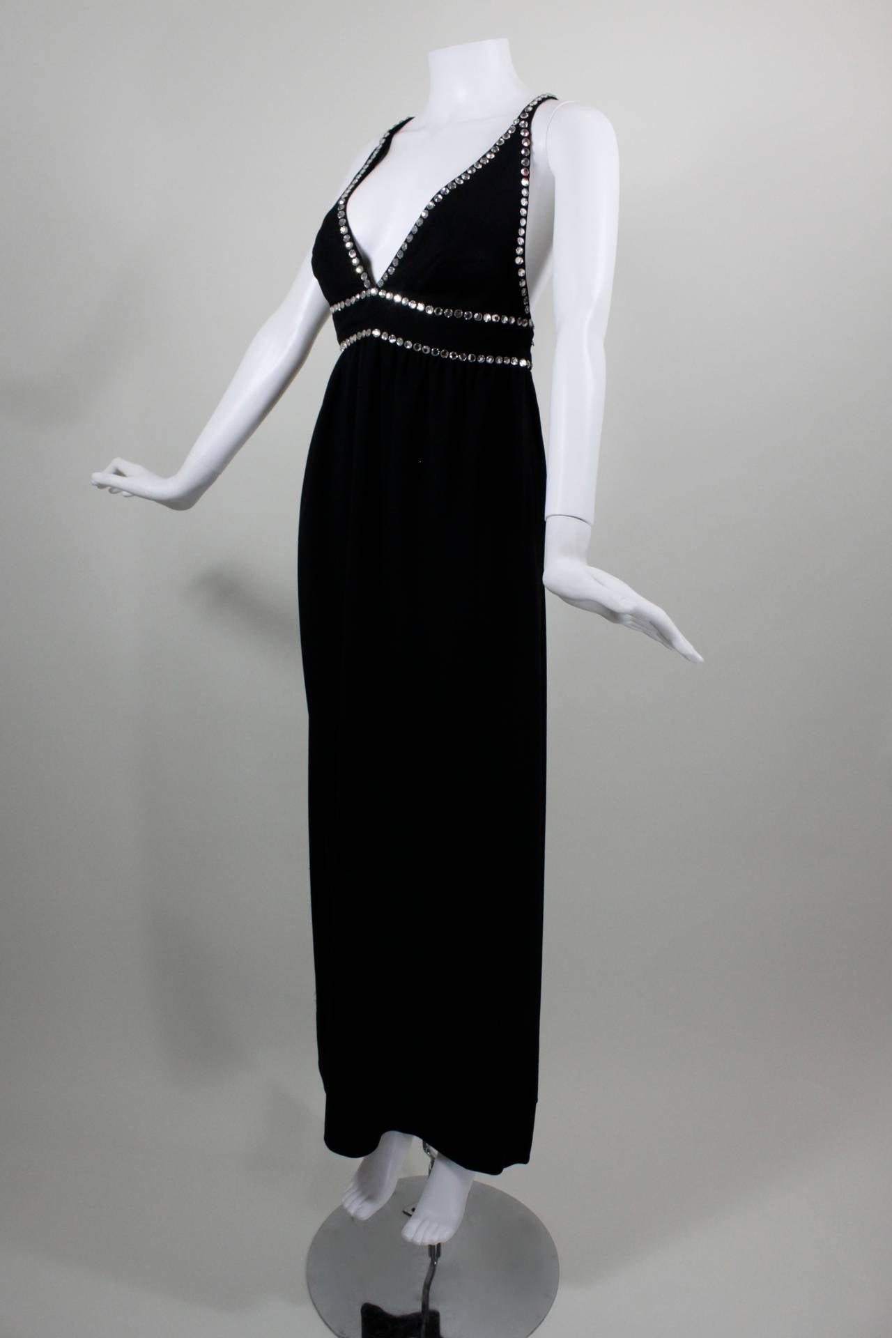 Oscar de La Renta Black Evening Gown with Oversize Rhinestone Embellishment 2