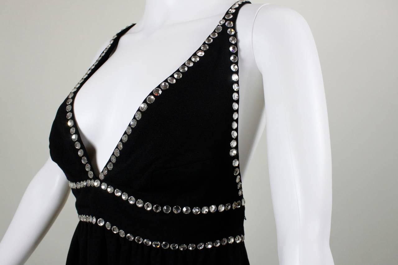 Oscar de La Renta Black Evening Gown with Oversize Rhinestone Embellishment 5