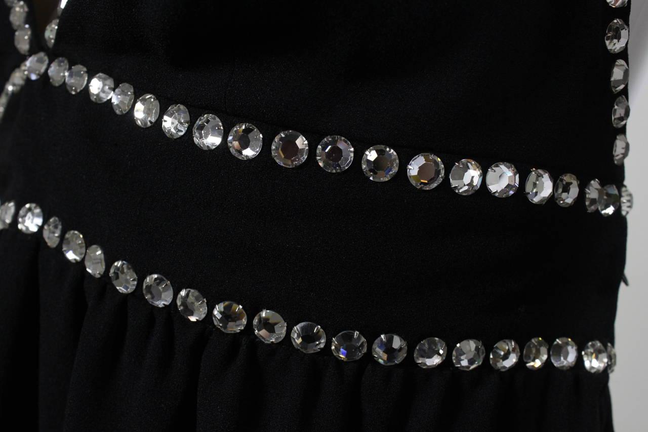 Oscar de La Renta Black Evening Gown with Oversize Rhinestone Embellishment 8