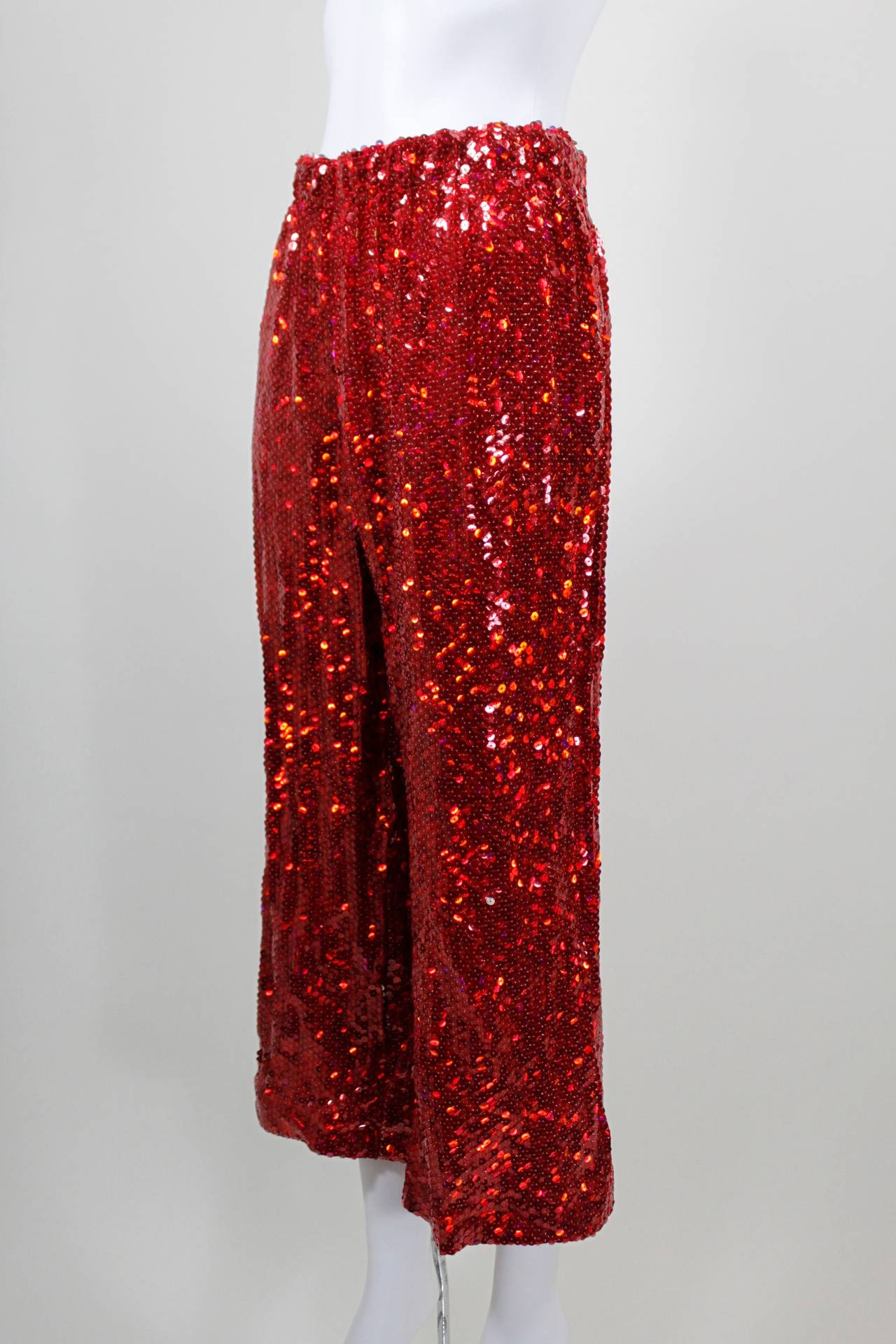 Comme des Garçons Fire Engine Red Sequined Cropped Pants 3