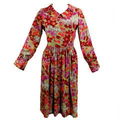 Galanos Multicolor Floral Pan Collar Dress