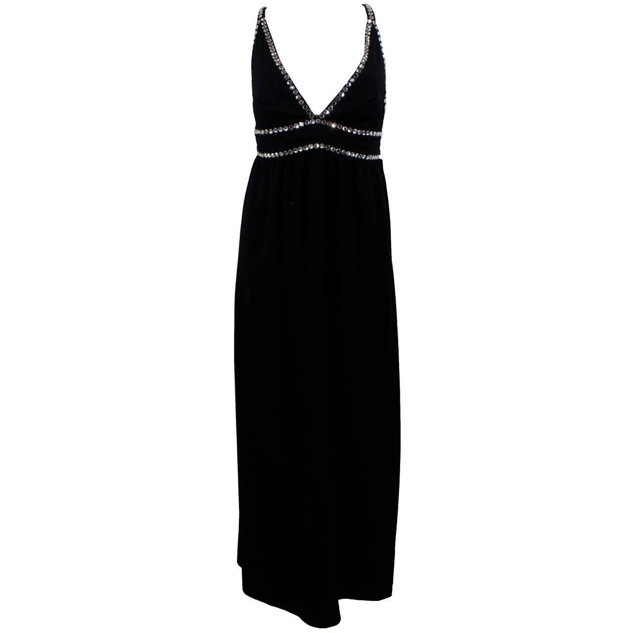 Oscar de La Renta Black Evening Gown with Oversize Rhinestone Embellishment 1