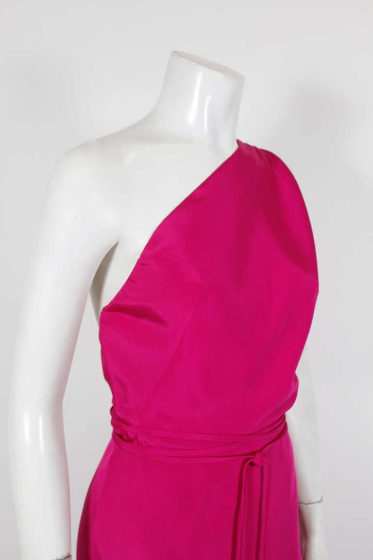 Gr 232 S Fuschia Asymmetrical Gown With Cape At 1stdibs