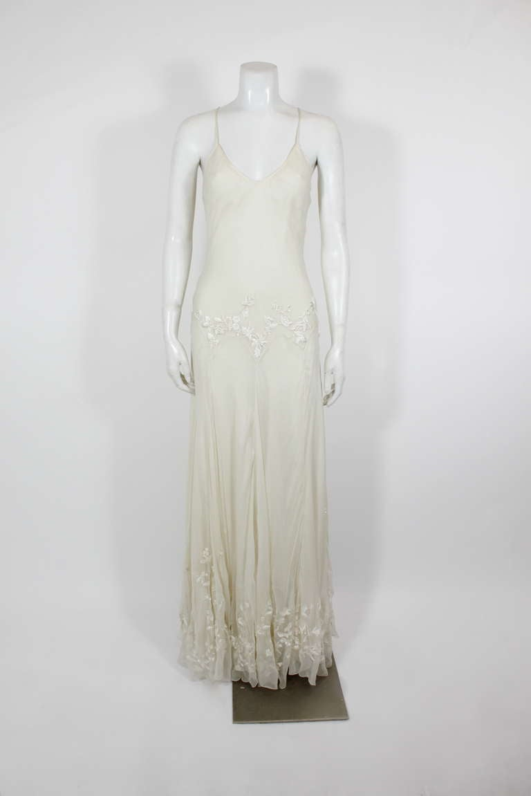 Alexander McQueen (unlabelled) Cream Chiffon Gown with Embroidery 2