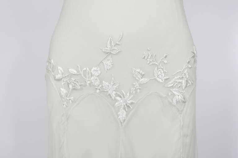 Alexander McQueen (unlabelled) Cream Chiffon Gown with Embroidery 3