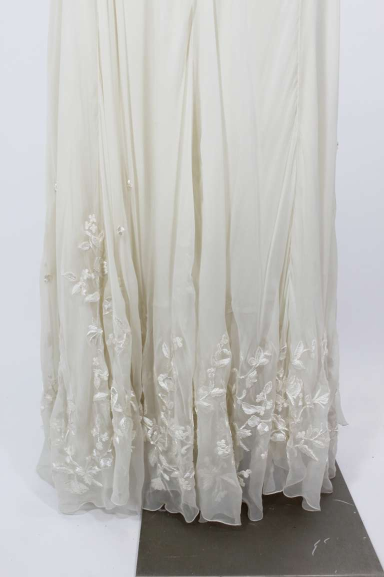 Alexander McQueen (unlabelled) Cream Chiffon Gown with Embroidery 4