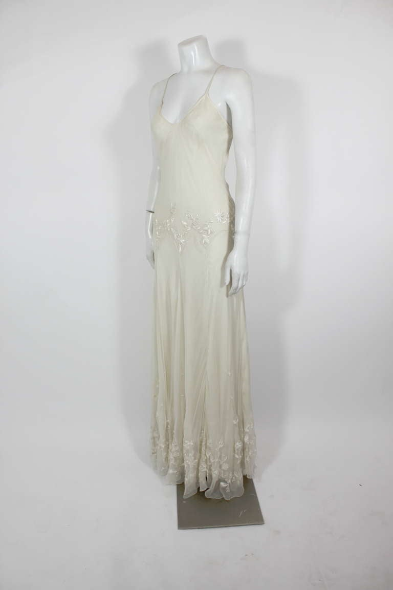 Alexander McQueen (unlabelled) Cream Chiffon Gown with Embroidery 6