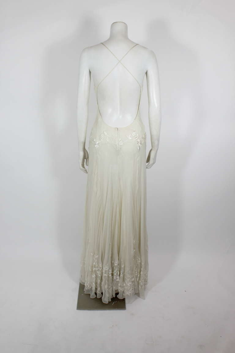 Alexander McQueen (unlabelled) Cream Chiffon Gown with Embroidery 7