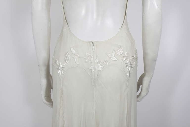 Alexander McQueen (unlabelled) Cream Chiffon Gown with Embroidery 8