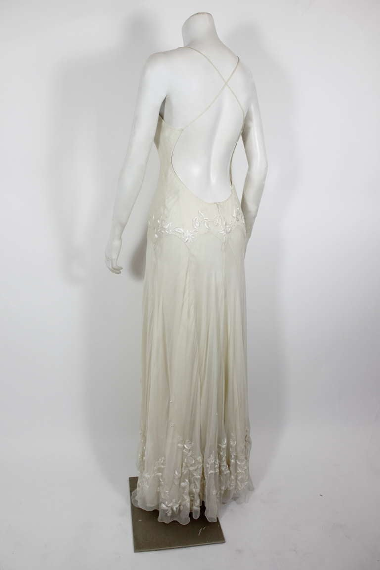 Alexander McQueen (unlabelled) Cream Chiffon Gown with Embroidery 9