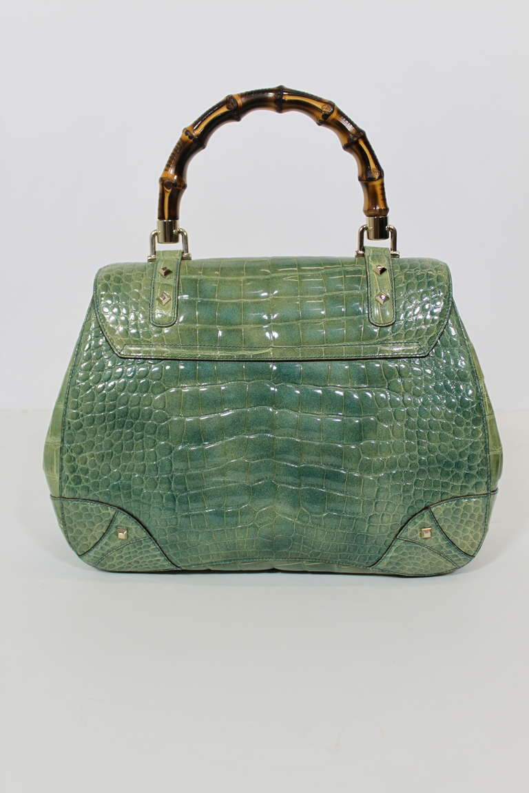 Gucci Mint Green Alligator Handbag With Bamboo Hardware