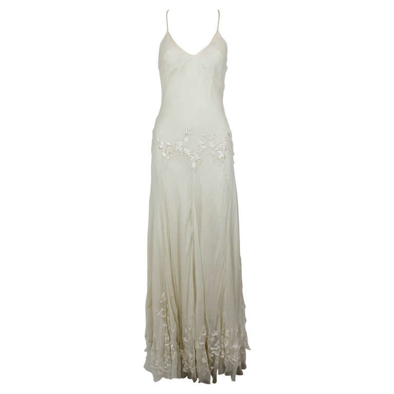 Alexander McQueen (unlabelled) Cream Chiffon Gown with Embroidery 1