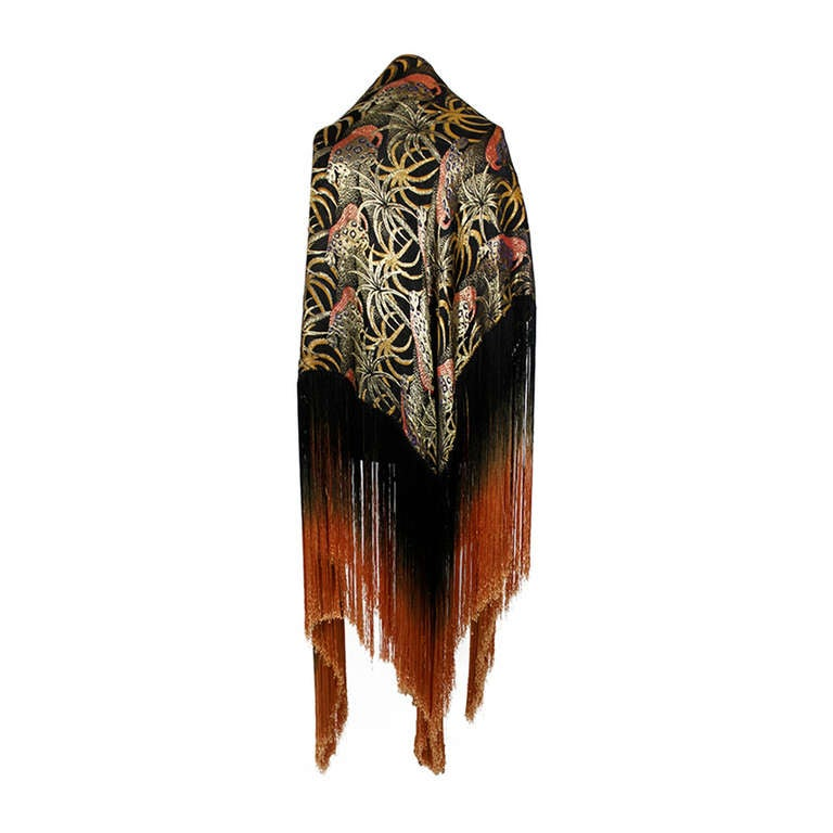 1920s Exquisite Leopard Lamé Piano Shawl with Ombre Fringe 1