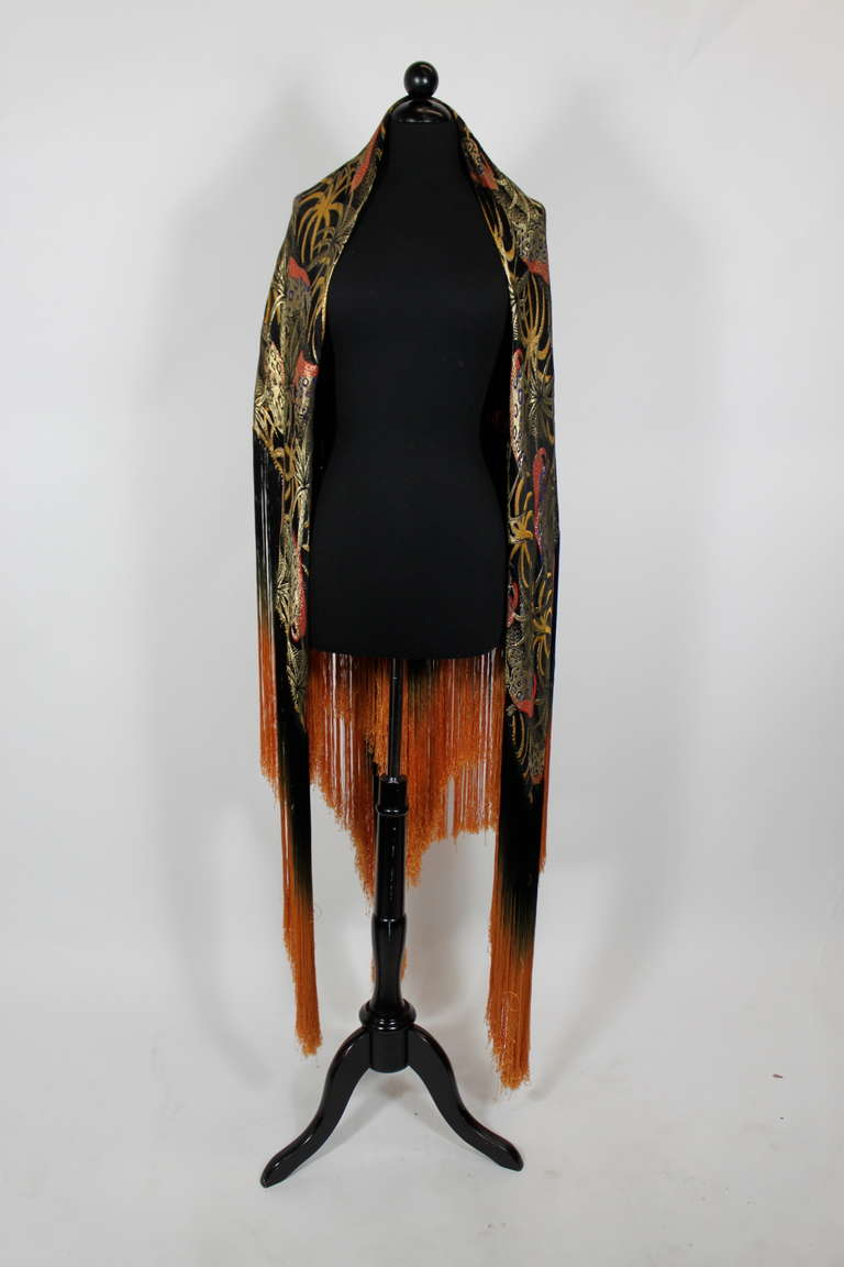1920s Exquisite Leopard Lamé Piano Shawl with Ombre Fringe 2