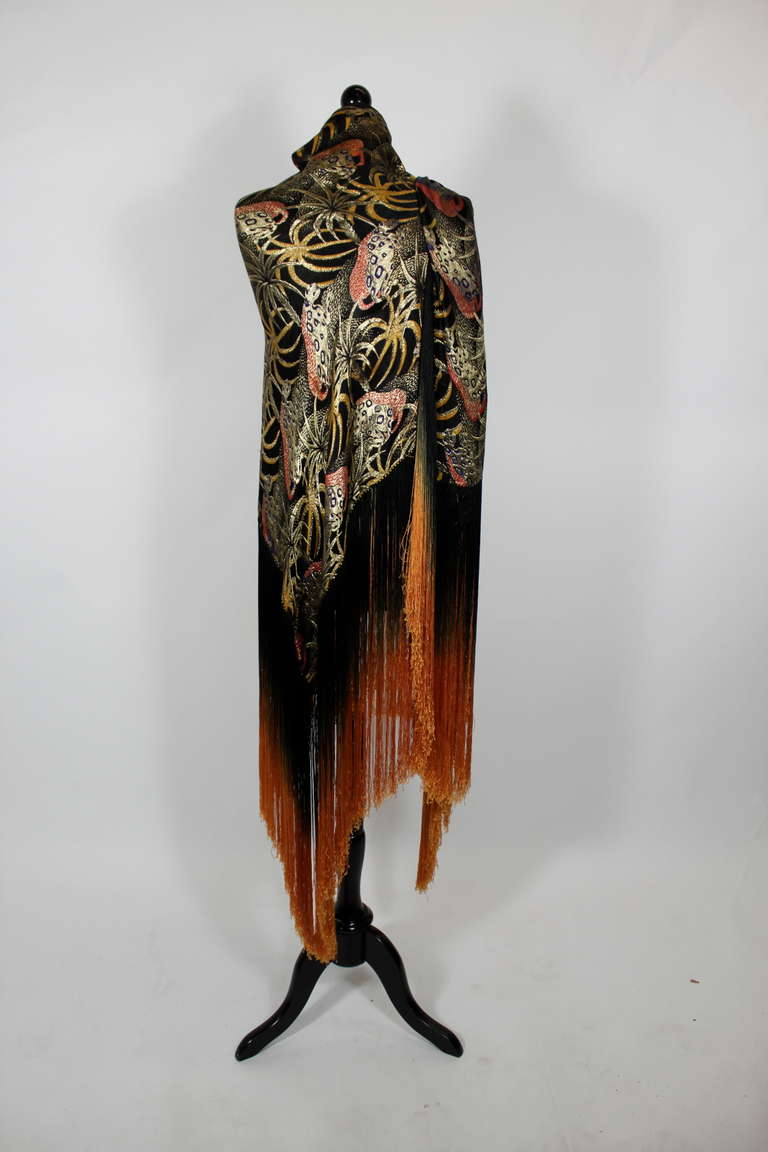 1920s Exquisite Leopard Lamé Piano Shawl with Ombre Fringe 3