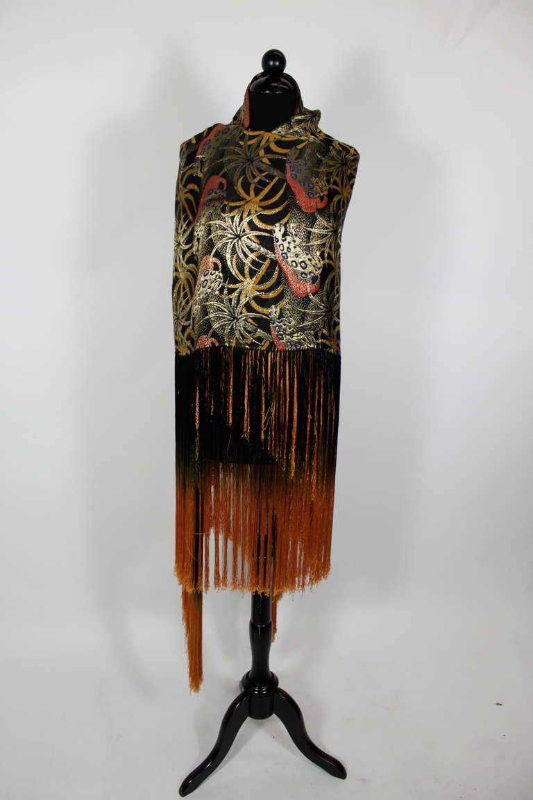 1920s Exquisite Leopard Lamé Piano Shawl with Ombre Fringe 4