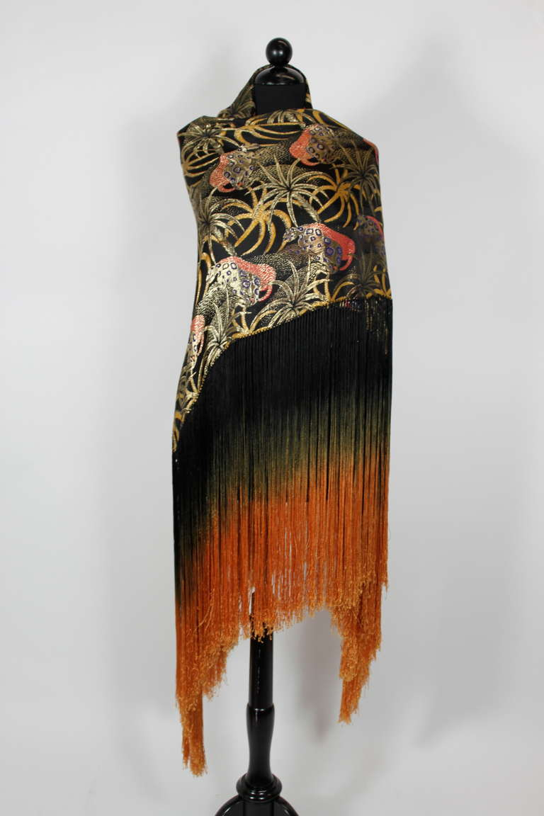 1920s Exquisite Leopard Lamé Piano Shawl with Ombre Fringe 5