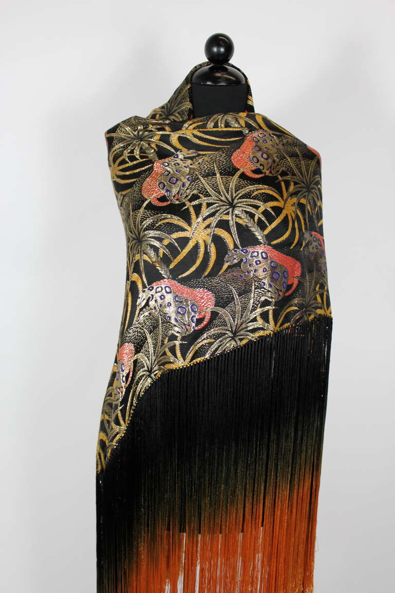 1920s Exquisite Leopard Lamé Piano Shawl with Ombre Fringe 6