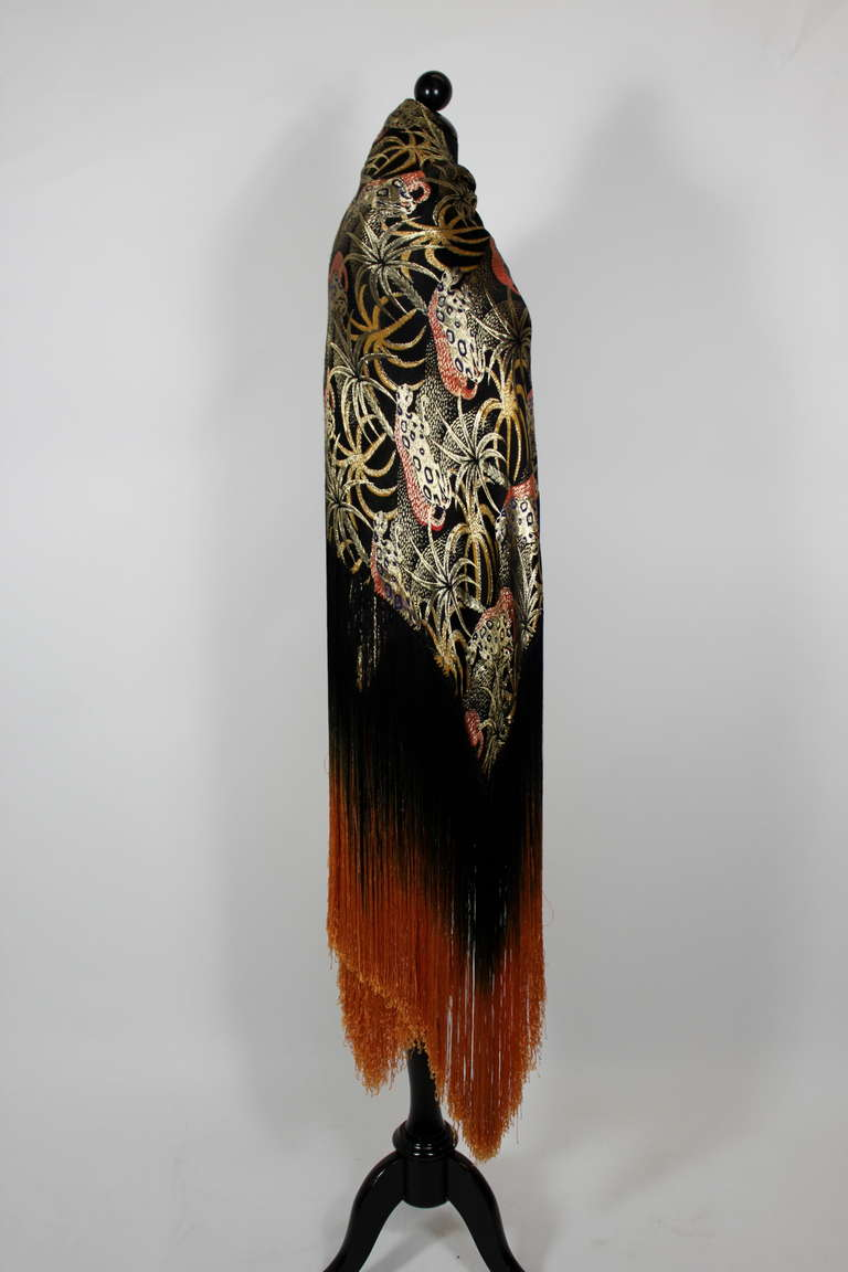1920s Exquisite Leopard Lamé Piano Shawl with Ombre Fringe 7
