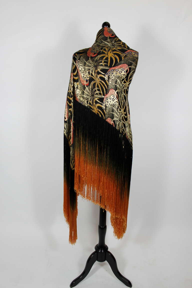 1920s Exquisite Leopard Lamé Piano Shawl with Ombre Fringe 8