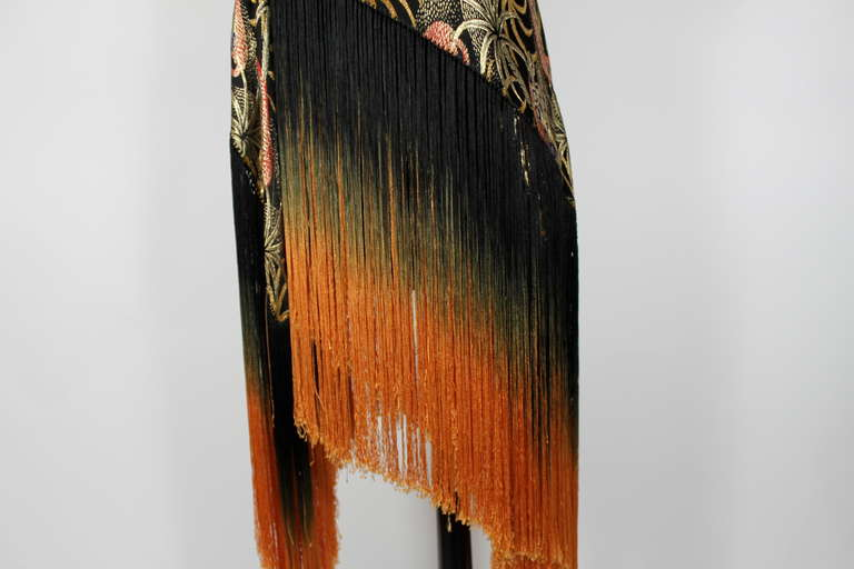 1920s Exquisite Leopard Lamé Piano Shawl with Ombre Fringe 9