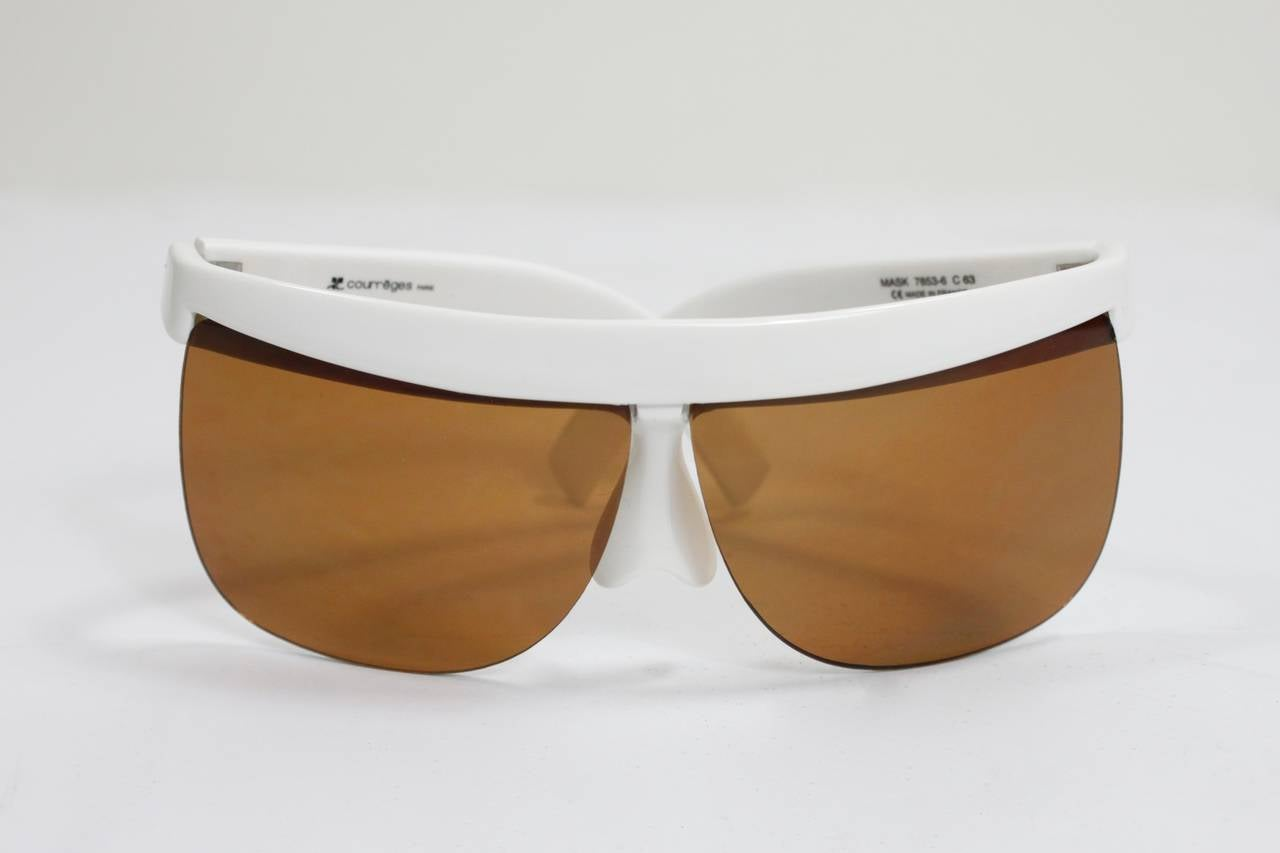 Brown 1960s Courreges White Sunglasses For Sale