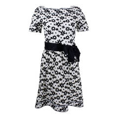 1960s Arnold Scaasi Monochrome Daisy Embroidered Party Dress