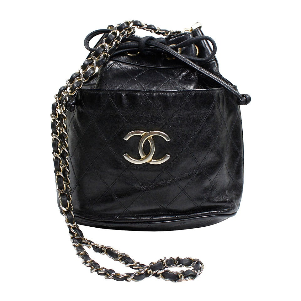Chanel Black Quilted Bucket Bag with Logo and Chain Strap 1