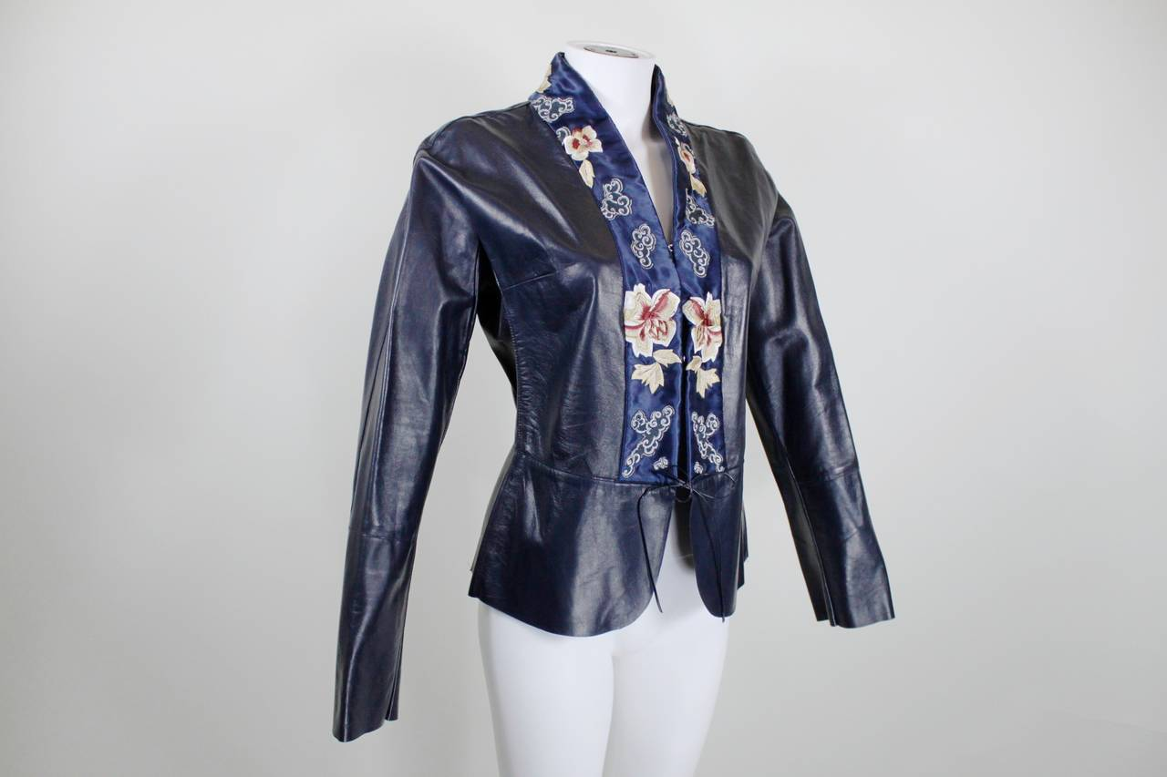 Blumarine Navy Leather Jacket with Japanese Inspired Embroidery In Excellent Condition For Sale In Los Angeles, CA