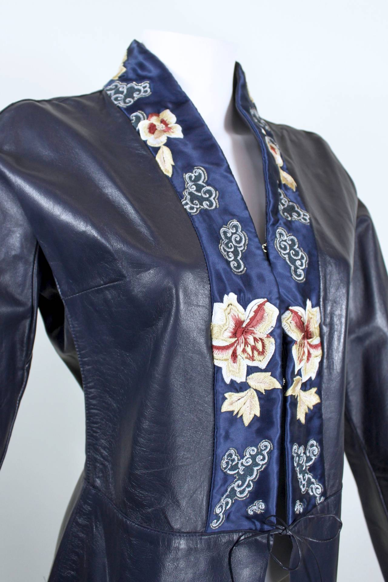 Blumarine Navy Leather Jacket with Japanese Inspired Embroidery For Sale 1