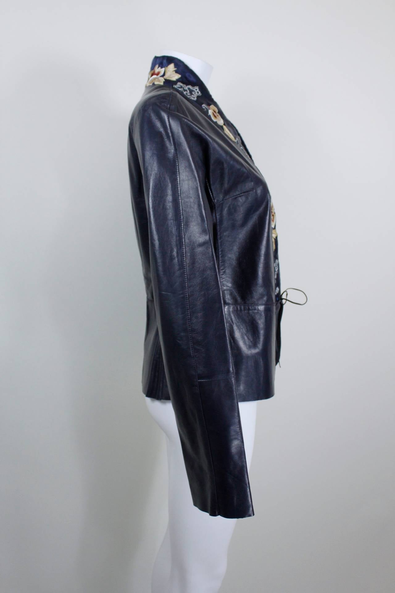 Blumarine Navy Leather Jacket with Japanese Inspired Embroidery For Sale 3