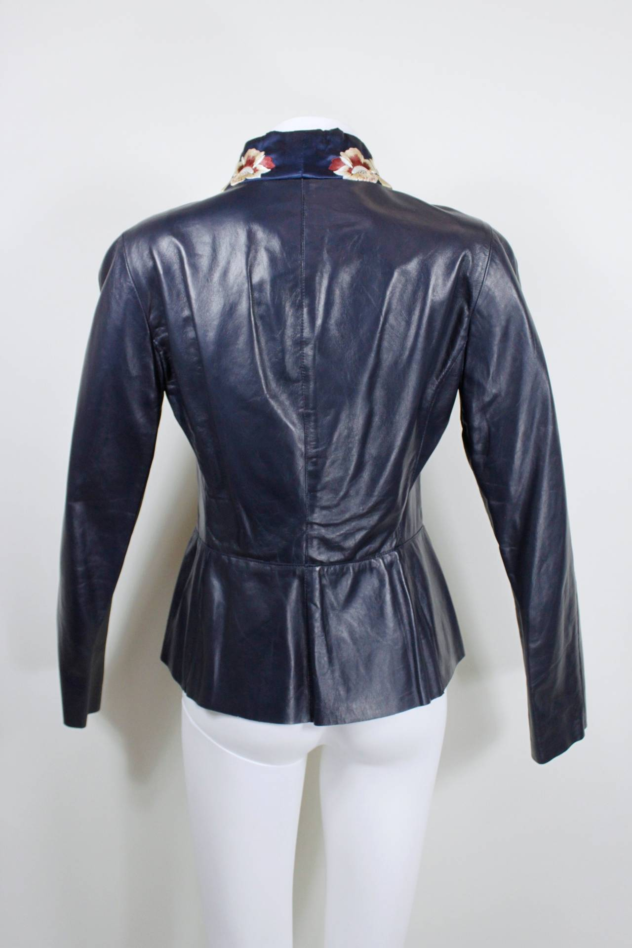 Blumarine Navy Leather Jacket with Japanese Inspired Embroidery For Sale 4