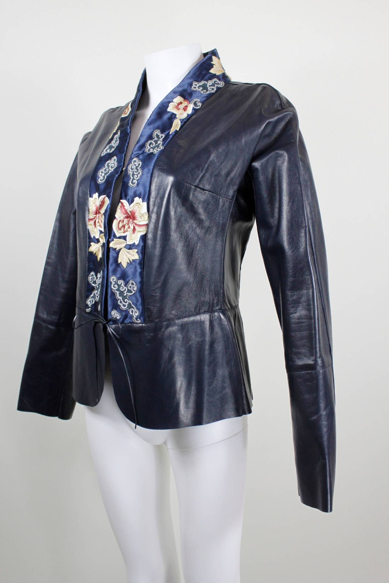 Women's Blumarine Navy Leather Jacket with Japanese Inspired Embroidery For Sale