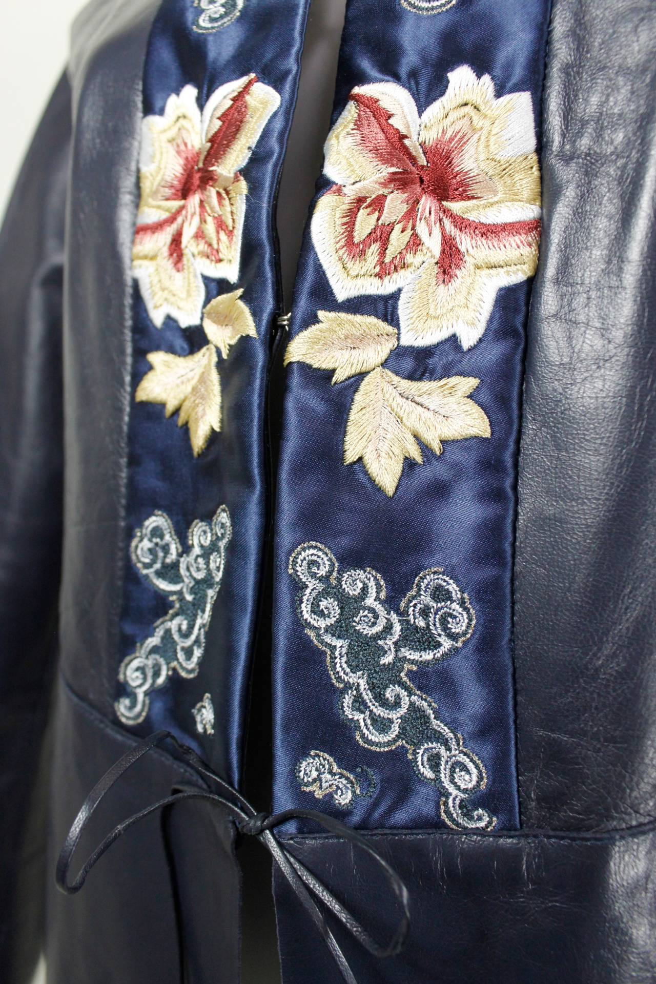 Blumarine Navy Leather Jacket with Japanese Inspired Embroidery For Sale 2