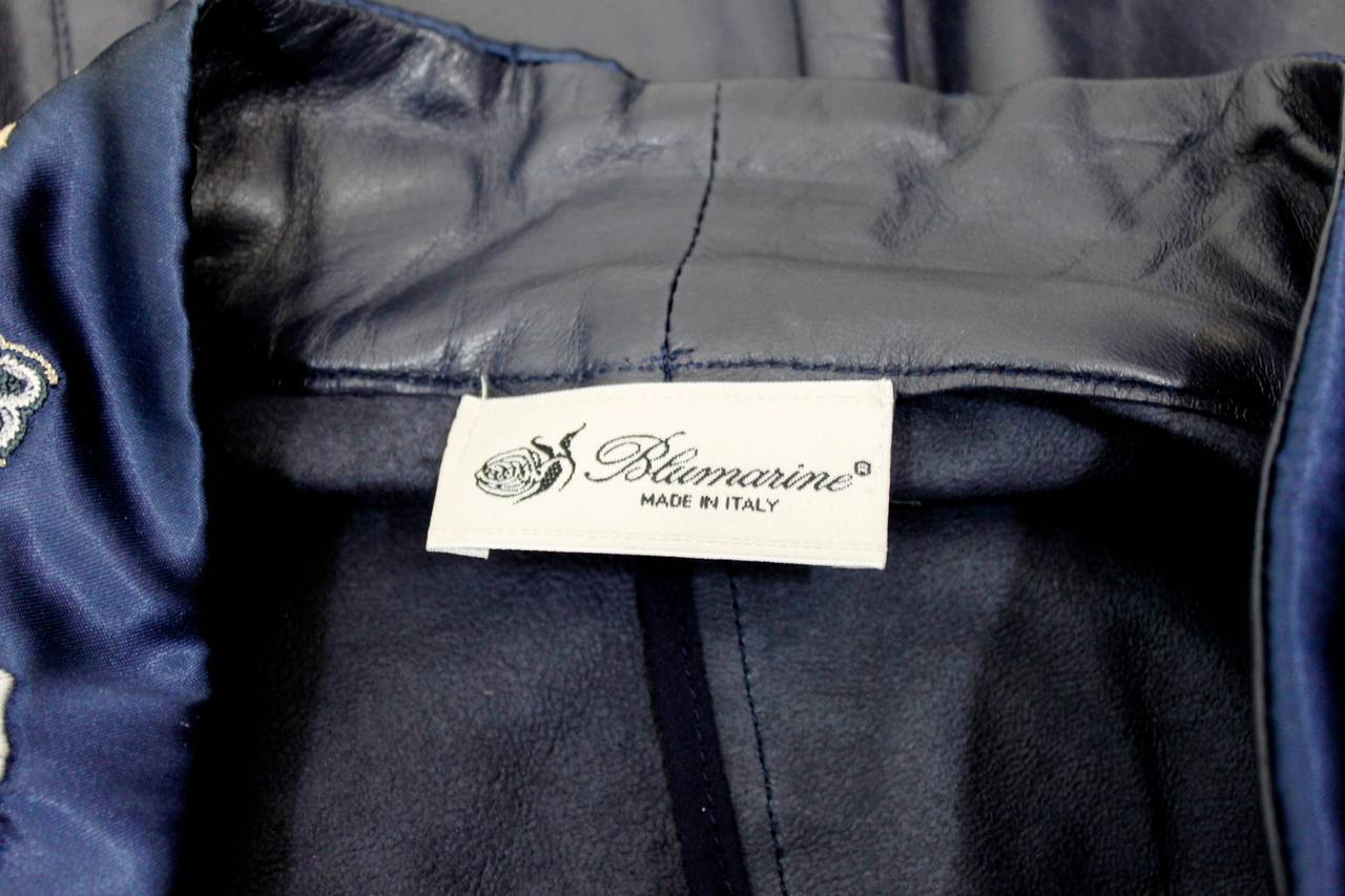 Blumarine Navy Leather Jacket with Japanese Inspired Embroidery For Sale 5
