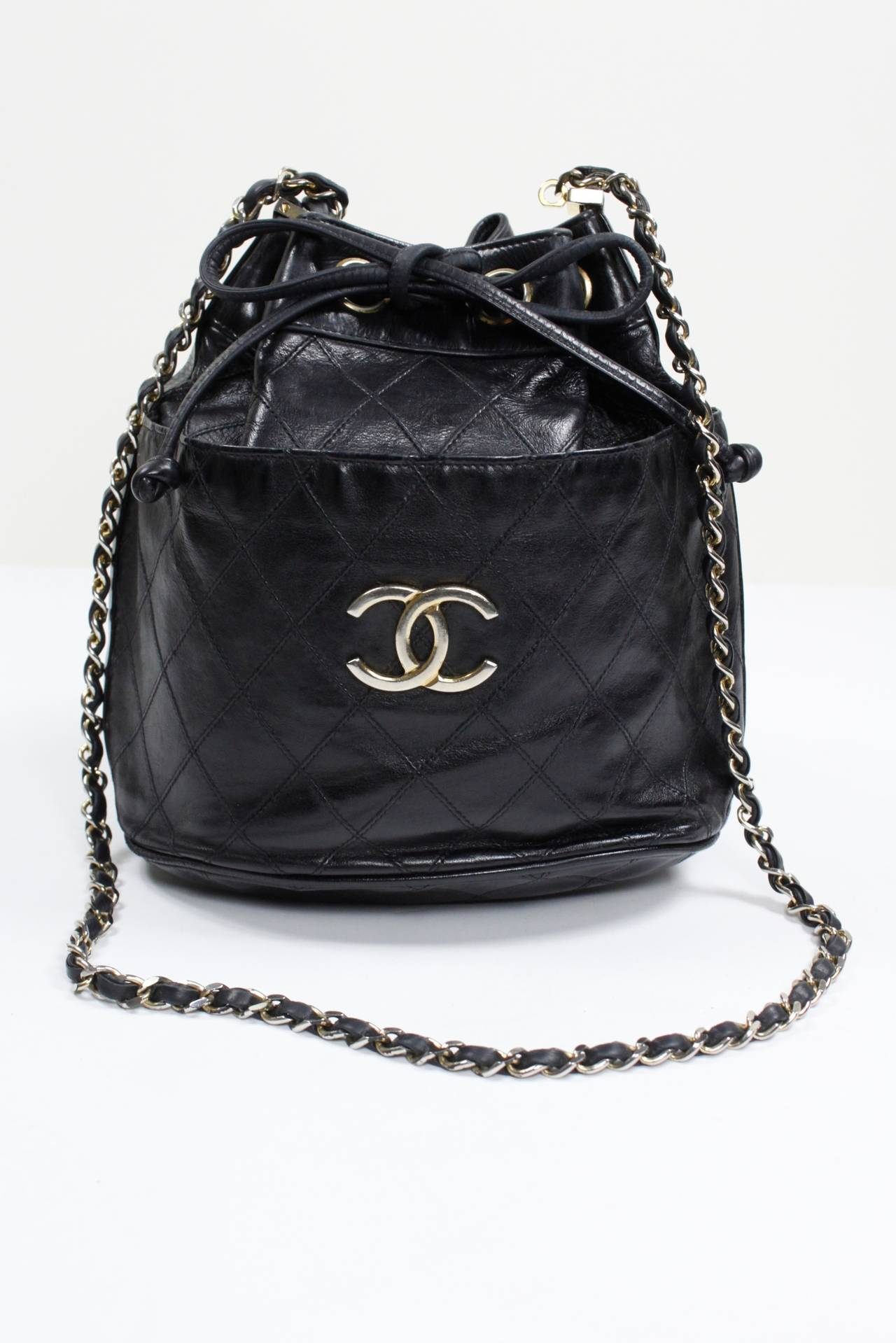 Chanel Black Quilted Bucket Bag With Logo And Chain Strap